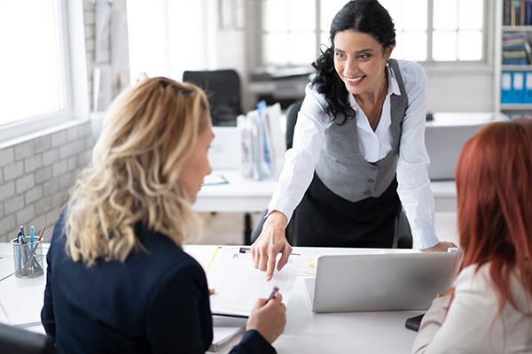 Consultant advising her clients