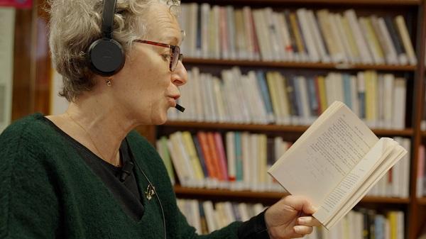 Person recording an audio book
